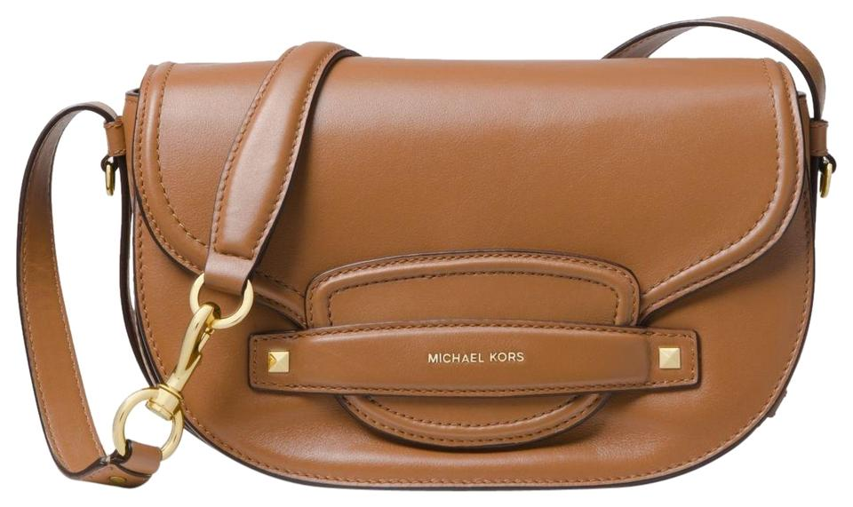 030420276112 Michael Kors Cary Medium Saddle Acorn Leather Cross Body Bag - Tradesy