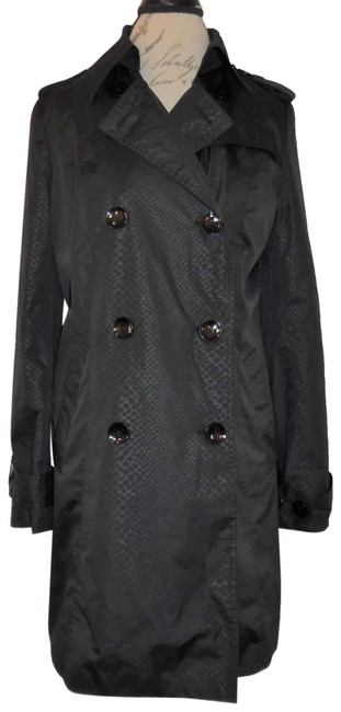 Item - Black Snakeskin Print Double-breasted Buttoned Coat Size 6 (S)
