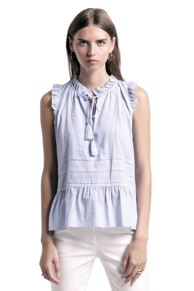 0029a276c Anthropologie Blue Kim Sleeveless with Tassels Button-down Top Size ...
