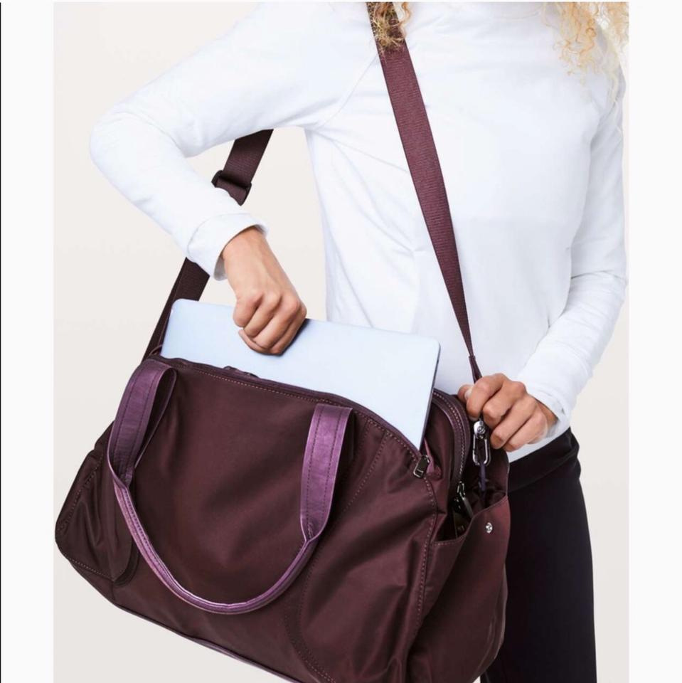2b9cd9bfe1d Lululemon Out Of Range Duffle Burgundy Water Repellent Fabric ...
