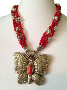 Large Red Coral & Silver Butterfly Pendant W/ Red Coral Necklace