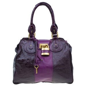 Chloé Patent Leather Tote In Purple