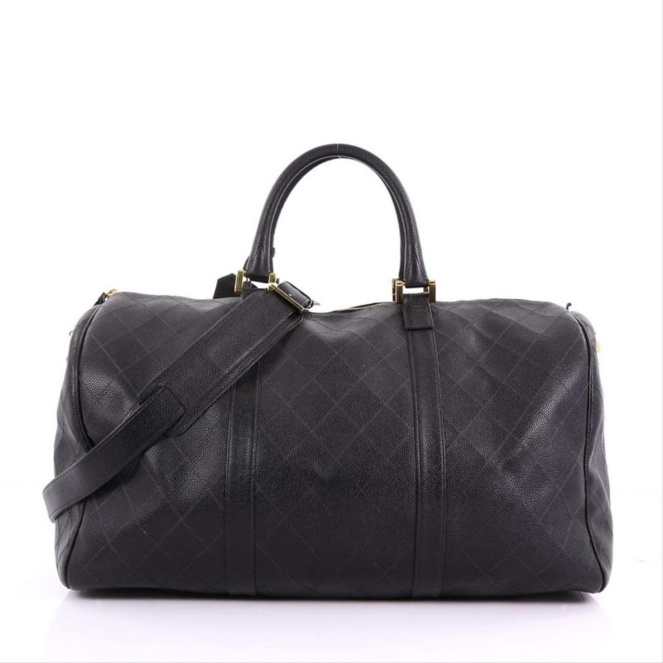 a08e9a2baac336 Chanel Vintage Diamond Stitch Boston Quilted Caviar Large Black ...
