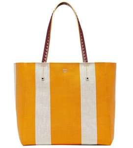 MCM Ilse Yellow/Beige Canvas Medium Tote in Yellow/Beige
