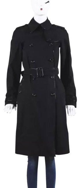 Item - Black Patent Leather Trim Double Breasted Coat Size 2 (XS)