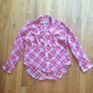 Free People Top Pink Plaid