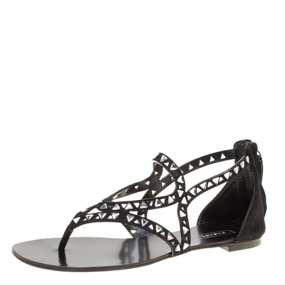 2b38c4800 Casadei Black Cut Out Suede Crystal Embellished Thong Sandals Flats ...