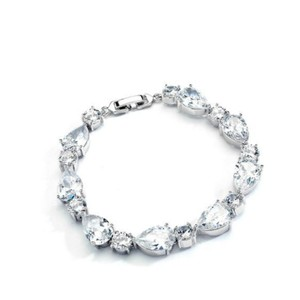 "Bridal Shoppe Silver Rhodium ""Aaa"" Grade Cz Pear and Round Bracelet"