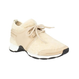 Chanel Trainer Sneaker Lace Up Beige Athletic