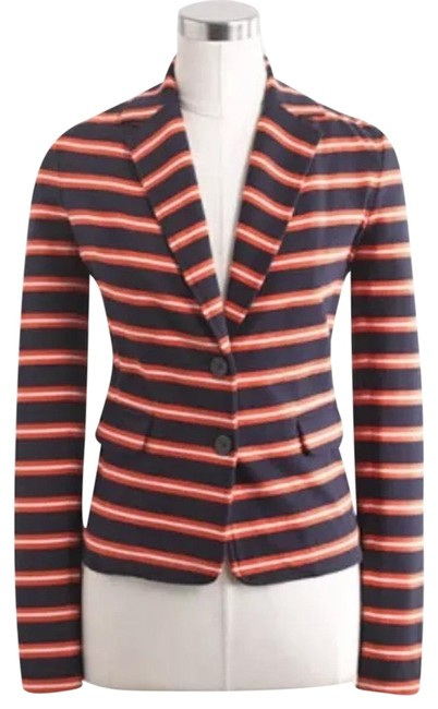 Item - Blue Red White Factory Stripe Knit Blazer Size 12 (L)