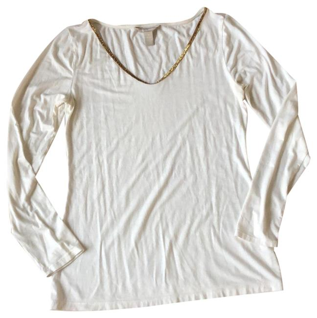 Item - Ivory with Gold Trimmed Neckline Tunic Size 8 (M)