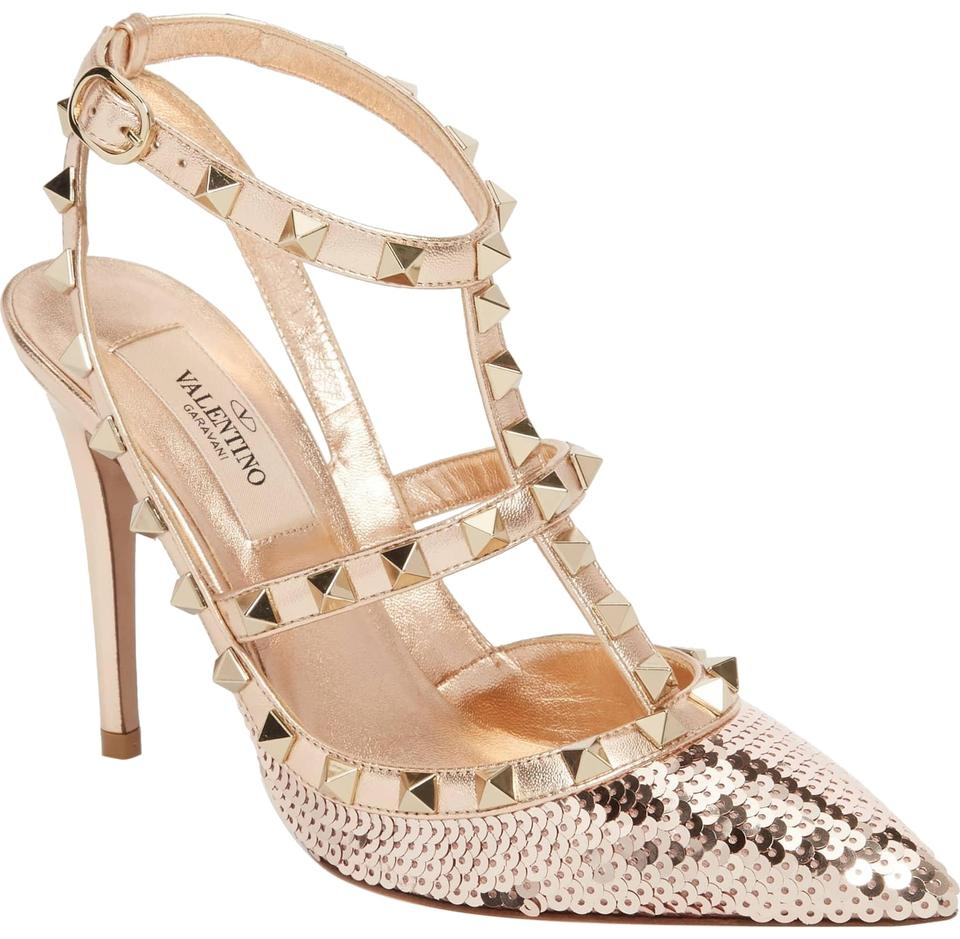 ad60f71b1133 Valentino Poudre Rame Rockstud Sequined Liquid Metal Sequin Ankle-strap  Pumps. Size  EU 38 (Approx. US 8) Regular ...