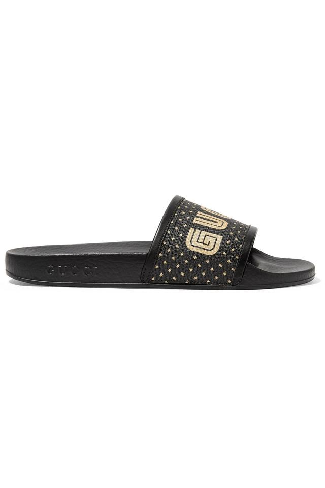 fa34864dd82b6a Gucci Pursuit Leather-trimmed Logo-print Canvas Slides Sandals Size ...