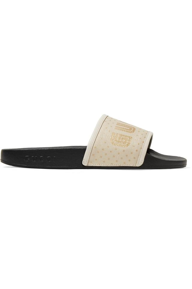 3bf6d7aa7631 Gucci Pursuit Leather-trimmed Logo-print Canvas Slides Sandals Size ...