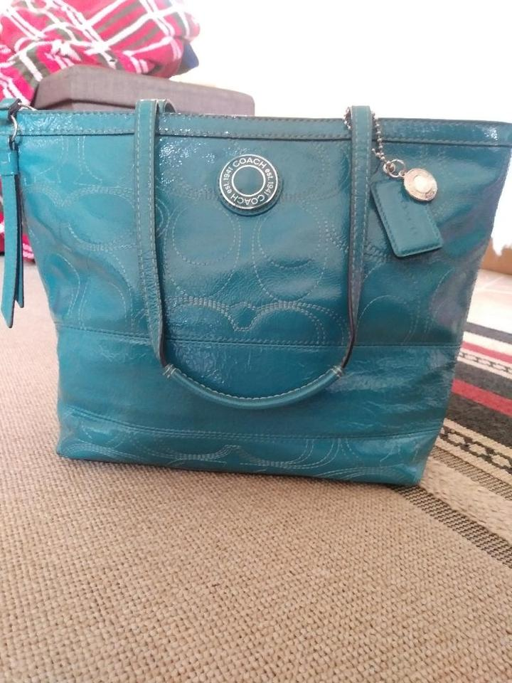ab343353ca15d Coach 1941 Leather Embellished Signature Satin Patent Leather Tote in  Blue/Teal Image 0 ...