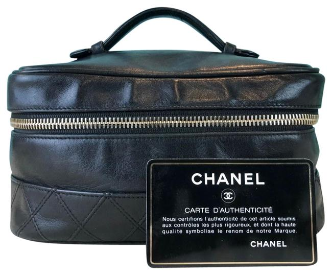 Chanel Black Leather Cosmetic Bag Chanel Black Leather Cosmetic Bag Image 1