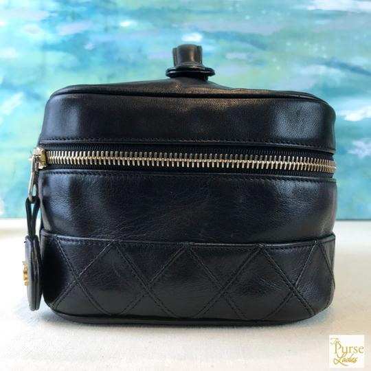 Chanel Black Leather Cosmetic Case
