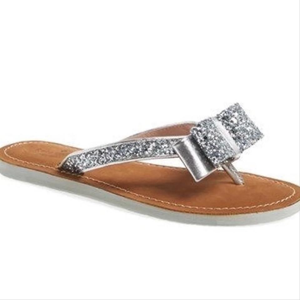 f3e9b46bf222 Kate Spade Silver Metallic Icarda Glitter Bow Flip Flops Sandals ...