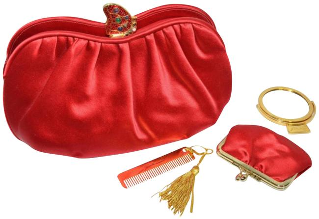 Item - Butterfly with Chain Strap Mirror Comb Set Red Satin Clutch