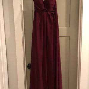 Bill Levkoff Wine / Burgundy Polyester Strapless Wine-colored Modern Bridesmaid/Mob Dress Size 8 (M)