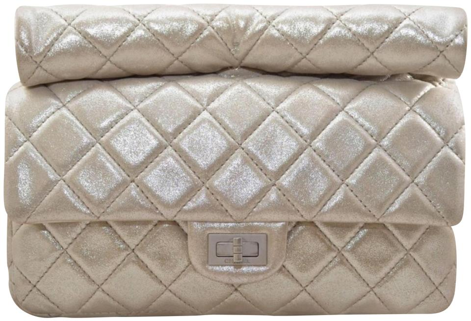 38a746787177 Chanel 2.55 Reissue Clutch 2012 Quilted Rolled Top Handle Silver ...
