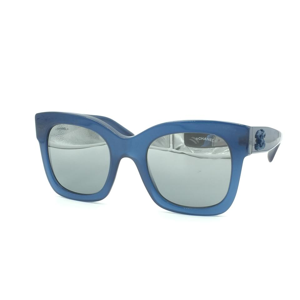 477e9c125e545 Chanel Chanel Butterfly Squared Blue Silver Mirrored Sunglasses 5357  1571 W6.