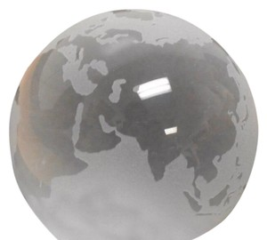 Tiffany & Co. Lead Crystal Globe Paperweight Frosted Clear W/Packaging