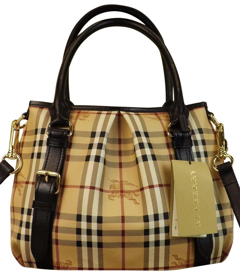 Burberry Black Check Haymarket Leather Northfield Small Beige Coated Canvas  Tote ec01c4f07be4a