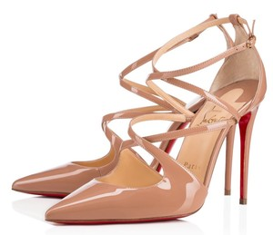 Christian Louboutin 100mm Cross Strap Pointed Toe Red Bottoms Beige Pumps