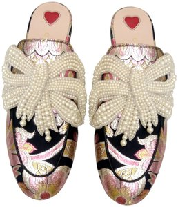 Gucci Pearl Princetown Loafers Bow Pink Mules