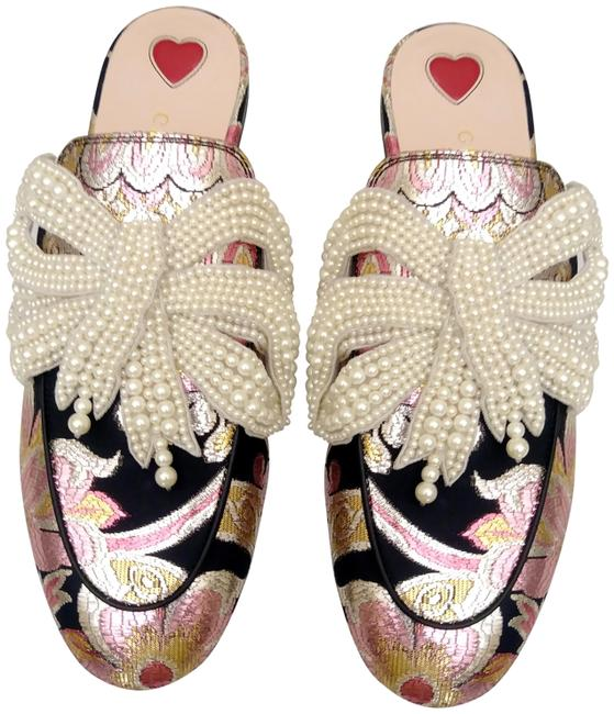 Item - Pink Brocade Princetown Loafer with Pearl Bow Mules/Slides Size EU 36 (Approx. US 6) Regular (M, B)