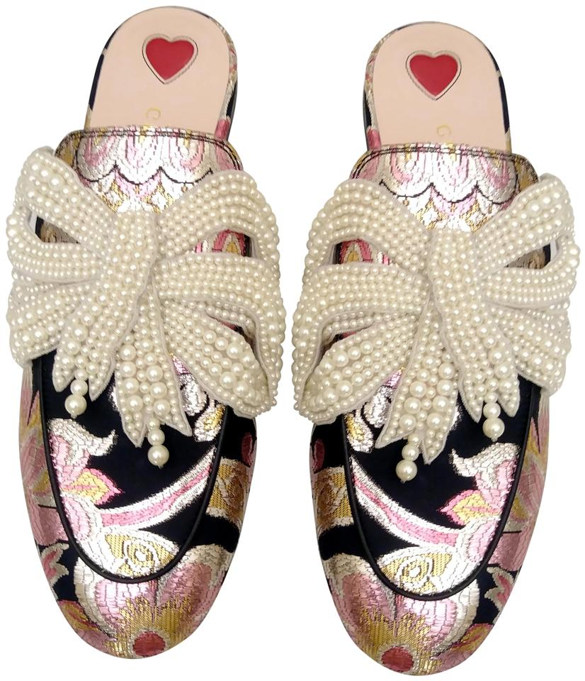 release date 5af9b 82ee9 Gucci Pink Brocade Princetown Loafer with Pearl Bow Mules/Slides Size EU 36  (Approx. US 6) Regular (M, B) 24% off retail