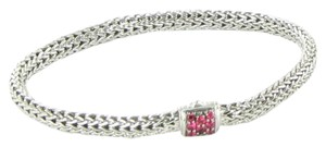 John Hardy XtraSmall Classic Chain Bracelet Pink Spinel Clasp 5mm Sterling Silver