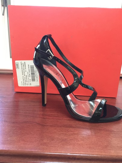 Ivanka Trump Black patent leather with transparent inset at toe strap. Sandals Image 2