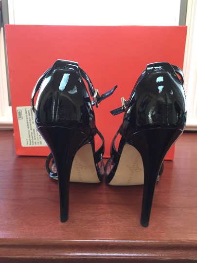 Ivanka Trump Black patent leather with transparent inset at toe strap. Sandals Image 3