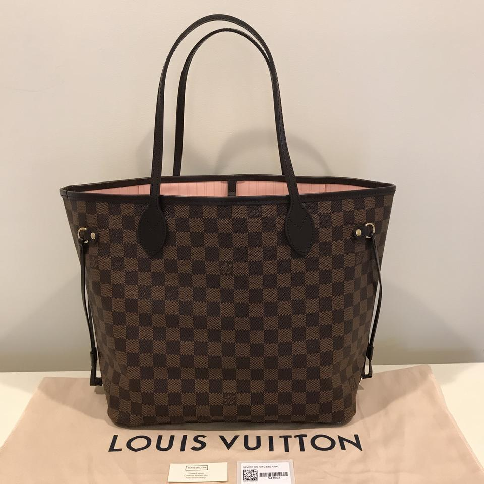 347c16dd2de Louis Vuitton Neverfull Mm Damier Ebene   Rose Ballerine Coated Canvas Tote  - Tradesy