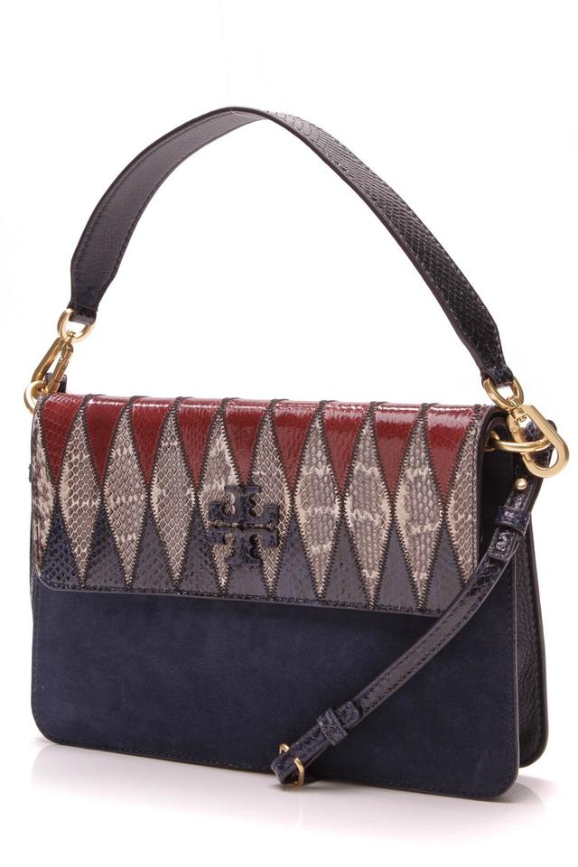 49648ceb8c96 Tory Burch Mcgraw - Mixed Media Blue Suede Leather Shoulder Bag ...