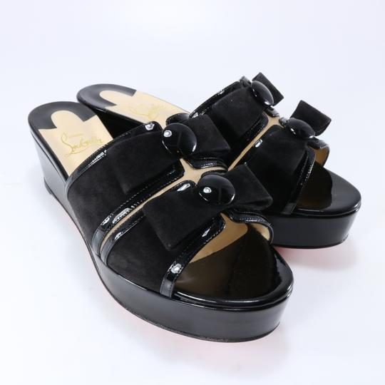 Christian Louboutin Bow Platform Black Sandals