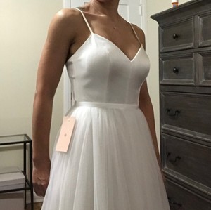 BHLDN Ivory Satin and Tulle Casual Wedding Dress Size 2 (XS)