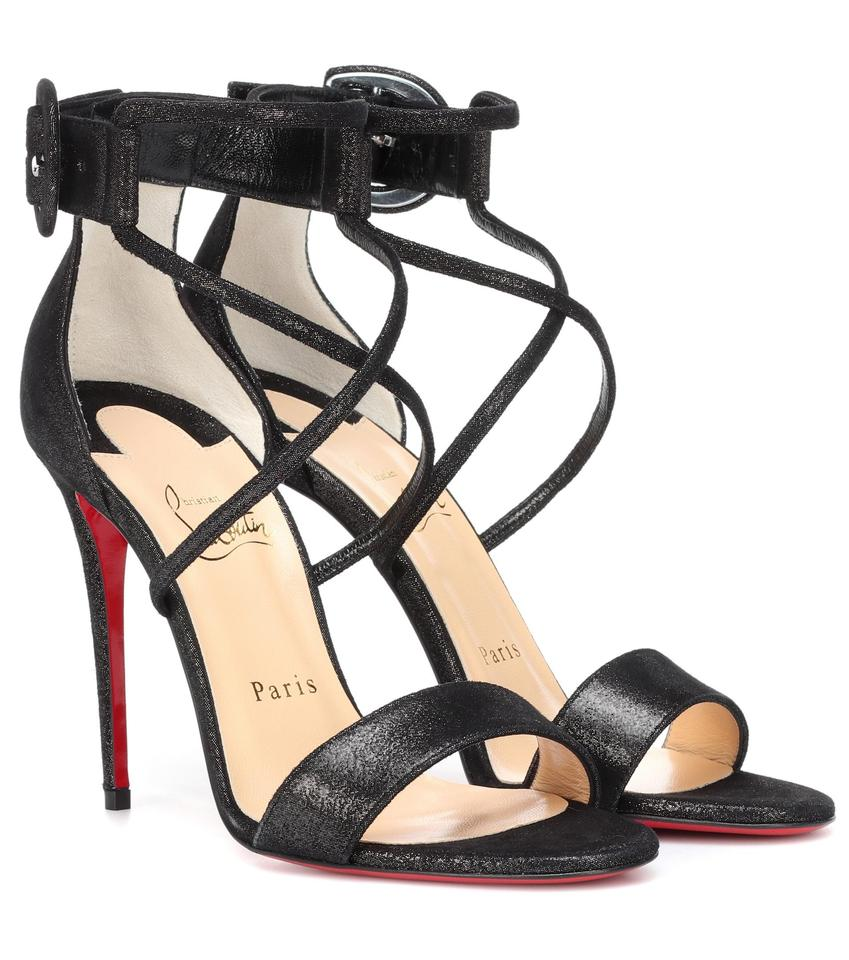a37b266be11 Christian Louboutin Black Choca 100mm Lame Printed Suede Buckle Strappy  Heels B269 Sandals Size EU 40 (Approx. US 10) Regular (M, B) 38% off retail