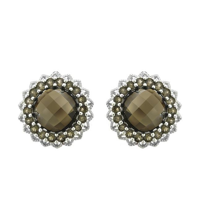 Item - 14k White Gold 9 Carat Round Checkerboard Cut Smoky Topaz Flower Earrings