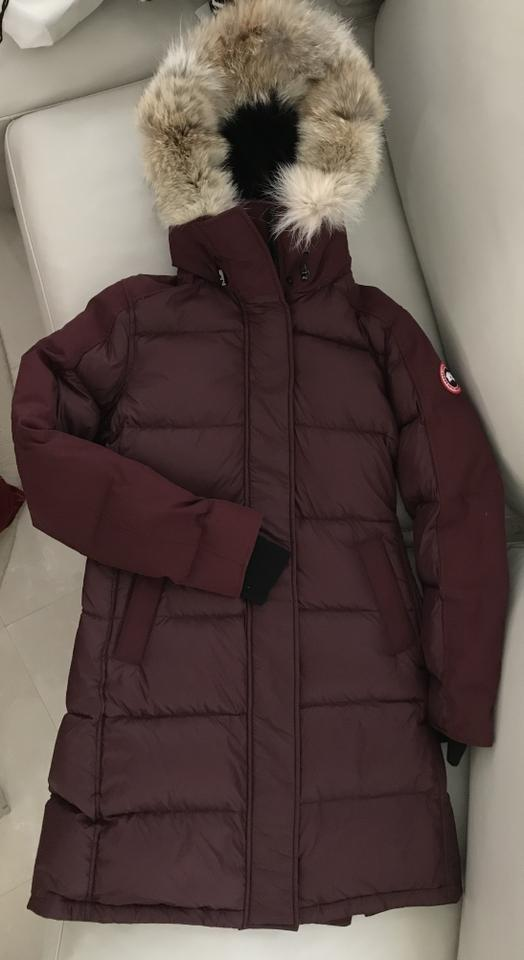 9de97bb95d5a Canada Goose Plum Rowley Hooded Quilted Fur-trim Parka Coat Size 8 ...