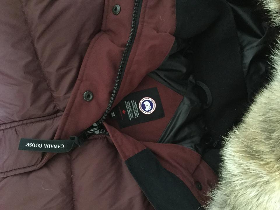 566790e154f Canada Goose Plum Rowley Hooded Quilted Fur-trim Parka Coat Size 8 (M)
