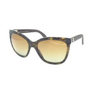 Chanel Havana Transparent Cat Eyed Polarized Quilted Sunglasses 5288 714/S9