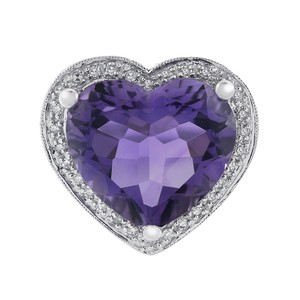 Avital & Co Jewelry 5 Carat Amethyst and 0.75 Carat Diamond Heart Shaped Ring