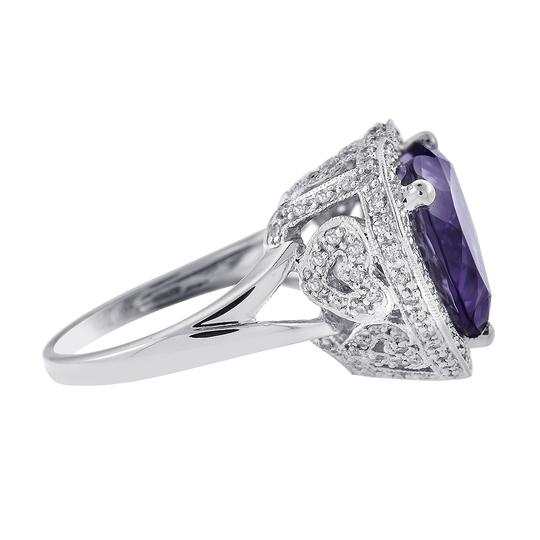 Avital & Co Jewelry 5 Carat Amethyst and 0.75 Carat Diamond Heart Shaped Ring Image 1