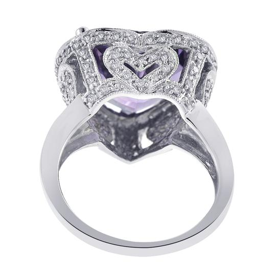 Avital & Co Jewelry 5 Carat Amethyst and 0.75 Carat Diamond Heart Shaped Ring Image 2