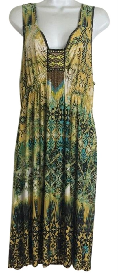 One World Live and Let Live Green Brown Beaded Sleeveless Short Casual  Dress Size 16 (XL, Plus 0x) 69% off retail