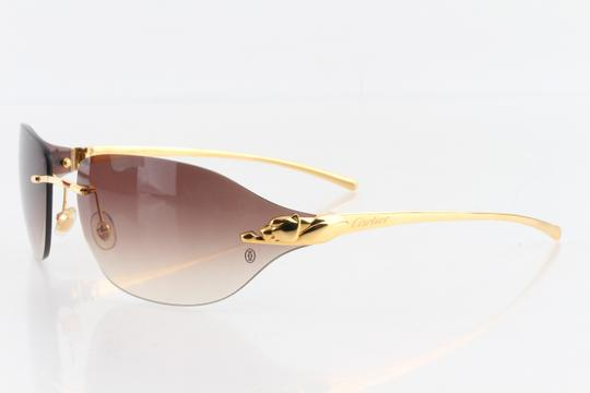 Cartier Cartier Brown 110 Panthere Rimless Sunglasses Image 1