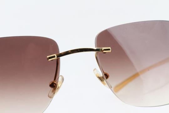 Cartier Cartier Brown 110 Panthere Rimless Sunglasses Image 7